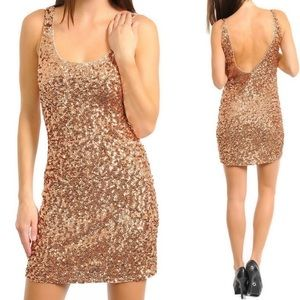 Brown sequin mini cocktail club new years dress